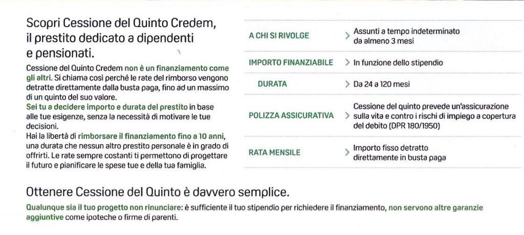 Dettagli offerta Credem Banca Cessione del Quinto