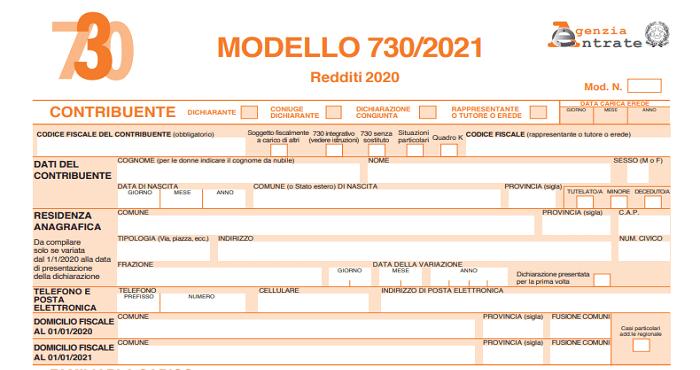 modello 730 dichiarazione redditi 2021
