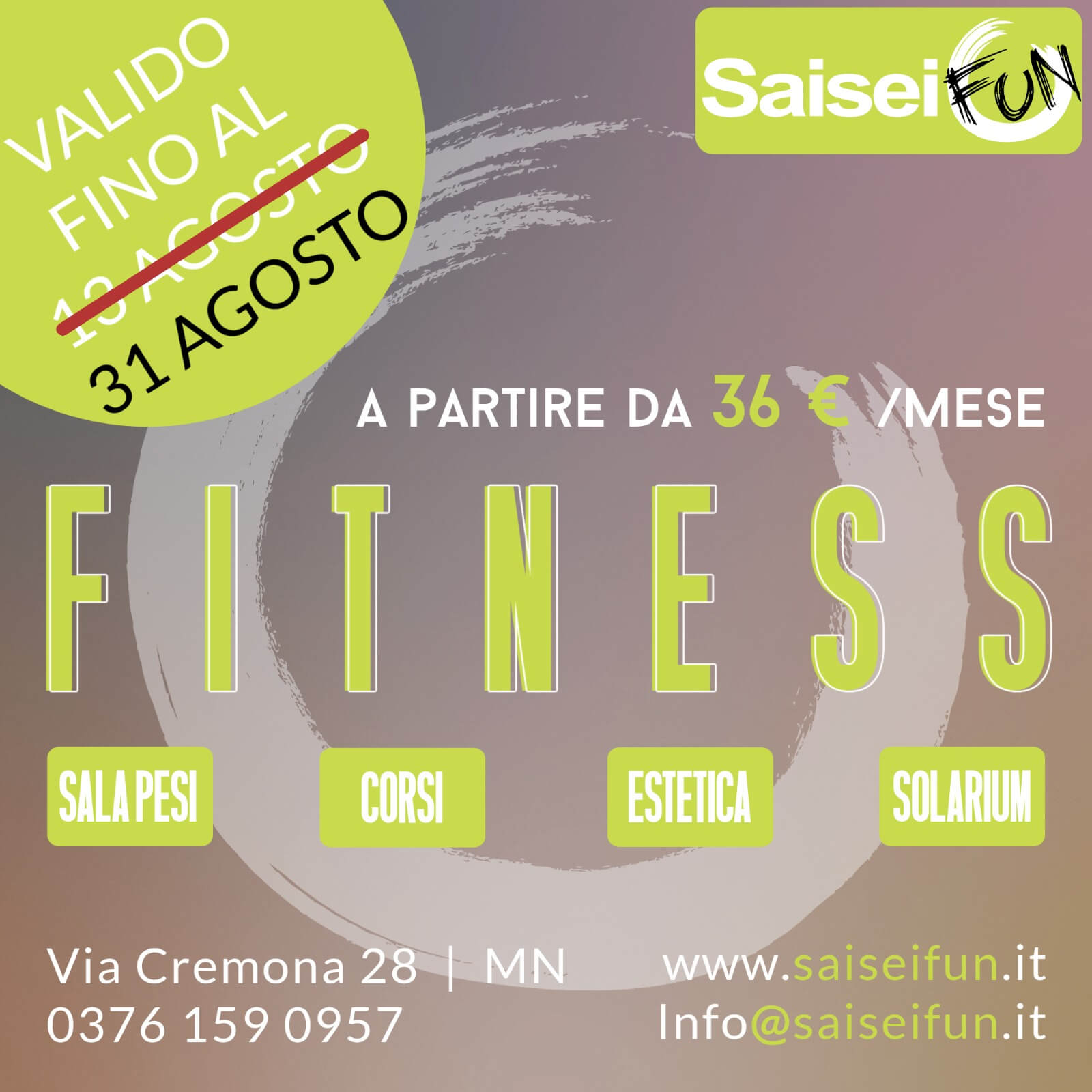 SaiSeiFun Fitness Promozione Estate 2021